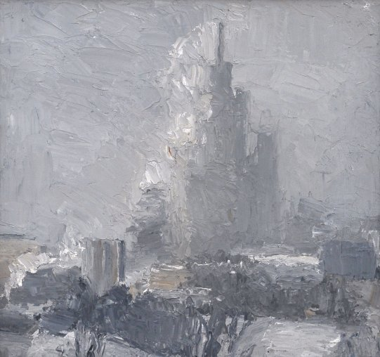 Plotnikov Egor. High-rise building on frosty day . 2006, oil on canvas, 35x35